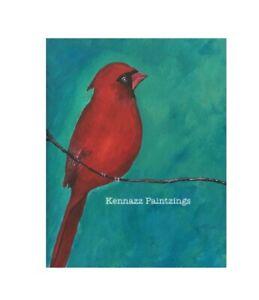 Red Cardinal Bird Original Acrylic Painting Unframed Art By Kenna