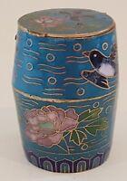 Japanese cloisonné vintage Art Deco antique small blue bird design box