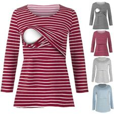 Womens Pregnant Maternity Clothes Nursing Top Breastfeeding Striped Shirt Blouse