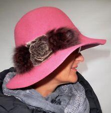 Damen Hut Altrosa elegant Wollhut Pelzapplikation Damenhüte Anlasshüte Herbst