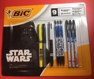 Star Wars Bic 9 Piece Pen Marker Highlighter Pencil Set Disney Collectible
