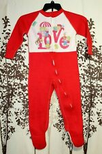Vintage 1983 Cabbage Patch Kids Love Original Red Footed Pajamas Zip Up Size 4