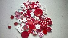 RED MIX x 50 + Wooden, Shell & Plastic Buttons FREE P&P! Flower, Heart, etc