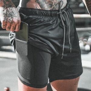 Men Fitness Drawstring Quick Dry Pockets Pant Bottom Activety Gym Running Shorts
