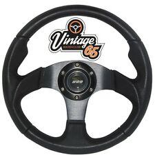 Vintage Warehouse Classic Retro Motorsport Style 340mm Steering Wheel & Horn BLK
