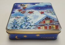 Collectible Square Empty Godiva Chocolate/Cookie/Sweets Tin/Reindeer/Santa