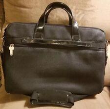 Jack Georges Black Messenger Laptop Briefcase Pebbled Leather 3 Compartment
