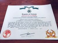 REPUBLIC OF VIETNAM CAMPAIGN MEDAL CERTIFICATE ~ With FREE PRINTING
