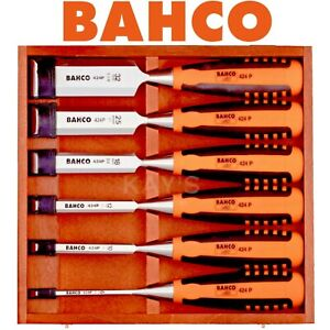 BAHCO 6 Pc Wood Chisel Set In A Storage Case Precision Bevel Edge 424P-S6-EUR