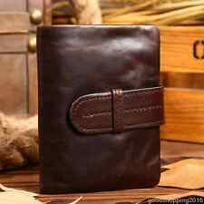 Casual Mens Women Genuine Leather Oil Wax Vegetable tanning Purse Wallet