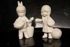 Ceramic Bisque Duncan D480A Thanksgiving Indian Boy and Girl  - Ready to Paint