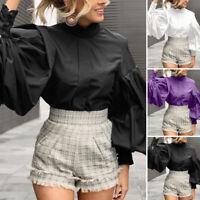 Size Women Retro High Neck Lolita Blouse Top Victorian Gothic Ruffle BLACK Shirt