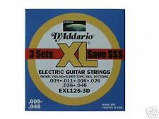 D'Addario EXL125-3D Super Tops Reg. Bottoms Strings 3pk