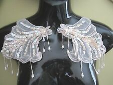Bead Sequin EPAULETTE Mirror Image Applique (2 pc set) SOFT PINK