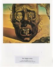 "SALVADOR DALI  Print Book Plate 9x12--""The Visage of War"" 1940"