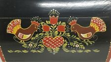 Vtg Folk Art Hand Painted TOLE Wood Chest Document Box DOME Top Rooster Signed