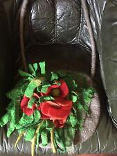 Poppy giardino infeltriti a mano lana BORSA GRANDE Woodland Fata Folletto Foderato