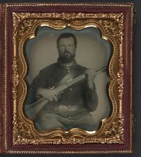 Photo Civil War Union Soldier In Uniform With Musket and Cap Box