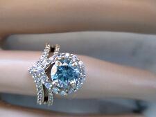 Beautiful 14K Yellow Gold Plated Engagement Ring 1.25Ct 7mm Blue Diamond