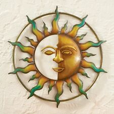 Rustic Bronze Gold Sun Face Rays Metal Wall Art Hanging Patio Fence Home Decor