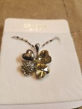 Austrian Crystal clover made with Swarovski Elements Necklace yellow citrine