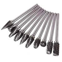 10Pcs 1/8'' Tungsten Steel Solid Carbide Burrs Rotary Kit Dremel Drill Bit Tool