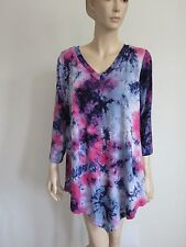 PINK BLUE TIE DYE V NECK 3/4 SLEEVE LOOSE HI LOW TUNIC TOP WOMAN SIZE M NEW