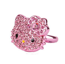 SANRIO - HELLO KITTY DIE CUT RHINESTONE  ADJUSTABLE LADIES RING METALLIC PINK