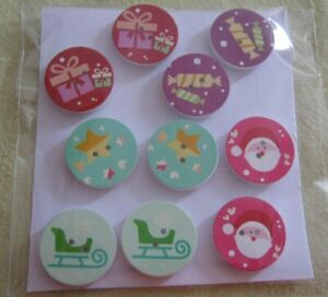 Wooden Buttons!  XMAS THEME!!  25mm wide & Qty 10  **NEW**  Assorted Designs [c]
