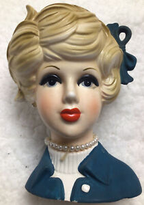 "Vtg Napco C8496 Blonde Lady in Blue w bow & pearls Head Vase 5 1/2"""