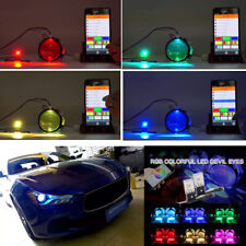 2x RGB Demon Eye LED Light Car Headlight Bulb Retrofit Kit Bluetooth APP Control