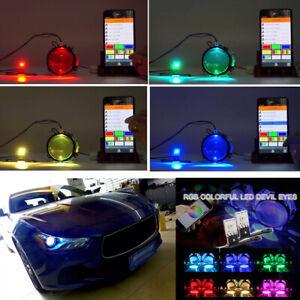 2x RGB Demon Eye LED Light Car Headlight Bulb Retrofit Kit Bluetooth APP Control