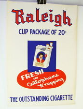 Original 1940's Raleigh Outstanding Cigarette Cup Package Of 20 Paper Sign
