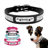Rhinestones Diamante Personalised Dog Collars Soft Suede with Nameplate Engraved
