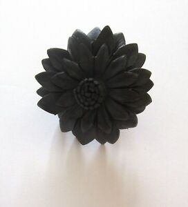 Fashion Ring-  SUNFLOWER- faux leather- black color- adjustable