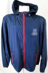 Arizona Wildcats Men Large Screened Full Zip Hooded Windbreaker Jacket NCAA 123