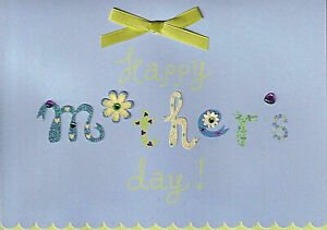 Papyrus Happy Mother's Day card  Glitter, Ribbon, Gems, Flowers & scalloped edge