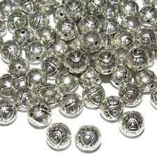 MBX7216L2 Antiqued Silver 10mm Round Heart Deco Metal Spacer Beads 100pc