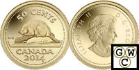2014 Proof 50-Cent 'Classic Beaver' 1/25oz Gold .9999 Fine *No Tax (13816)