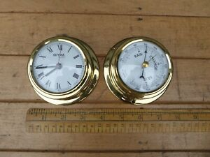 Estyma Quartz Bulkhead Clock and Barometer set .Matching 9.5cm Ships Clock set