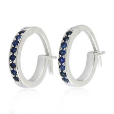 Easter Gift Huggie Earrings Sapphire 10k White Gold Jewelry OPS-16978