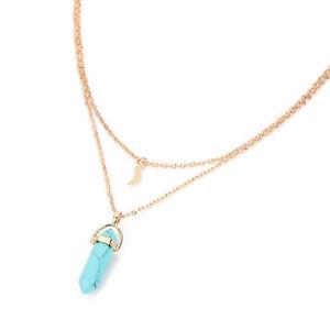 Boho Gemstone Turquoise Style Beaded Chakra Gold Plated Double Layer Necklace