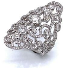 2.18 TCW Round Diamonds Cocktail Ring In Solid 14k White Gold Size 6.5