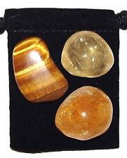 3rd SOLAR PLEXUS CHAKRA Tumbled Crystal Healing Set = 3 Stones + Pouch + Card