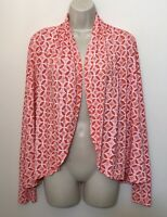 Fresh Produce Small Cardigan Red Orange White Long Sleeve Open Front Stretch