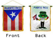 """Puerto Rico Coquí Double Sided Mini Flag 4""""x6"""" Window Banner w/ suction cup"""