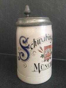 Bierkrug Krug Zinndeckel 0,4 L  Schwabinger Bräu Schwabing München Bayern ~ 1910