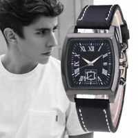 Montre Homme  Chic Date Cuir Bracelet Acier Inoxydable Imperméable Neuf France