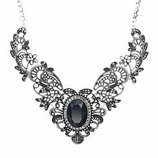 Vintage Womens Crystal Prom Costume Jewelry Bib Statement Necklace 16inches
