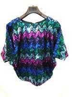 Vintage 70s Mister Jay S Sequin Disco Dancing Shirt Purple Blue Black Pink Top